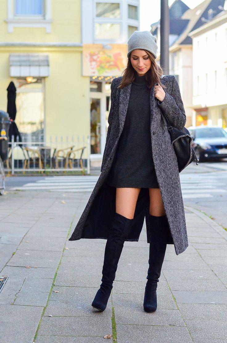 Zara Maxi Coat & schwarze Overknees