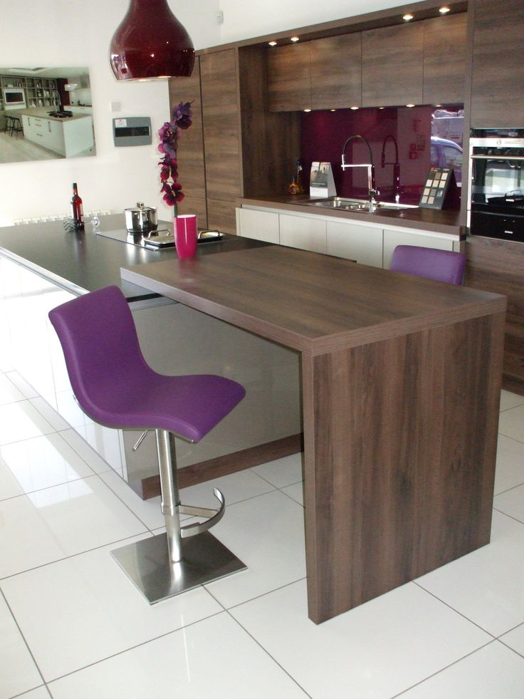 Steve Stools in Purple, with Brushed Steel Bases. Note the Purple Glass Splashback