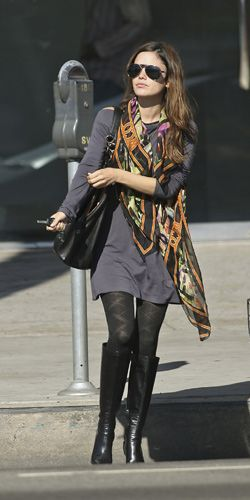 Rachel Bilson long-sleeved grey mini dress, print scarf, patterned nylons, and black leather boots