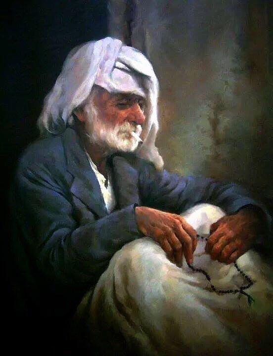 Old Iraqi man drawing by artist Laheeb Kamel