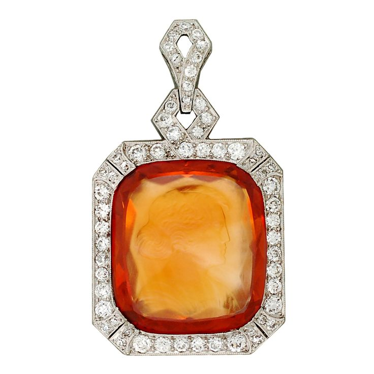44 best citrine jewelry images on pinterest jewelry bracelets 5295 art deco diamond carved citrine cameo platinum pendant from a unique collection of aloadofball Image collections