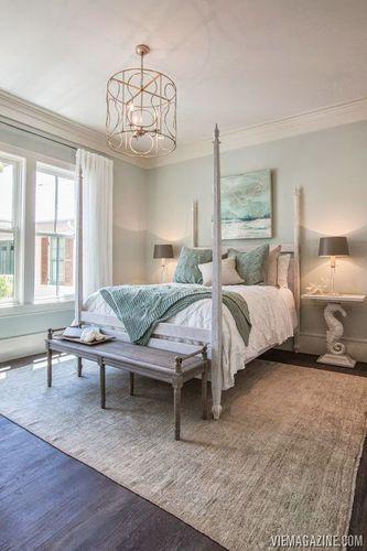Beautiful bedroom.  Wall color is stunning. Looks similar to Sea Salt or Healing Aloe.