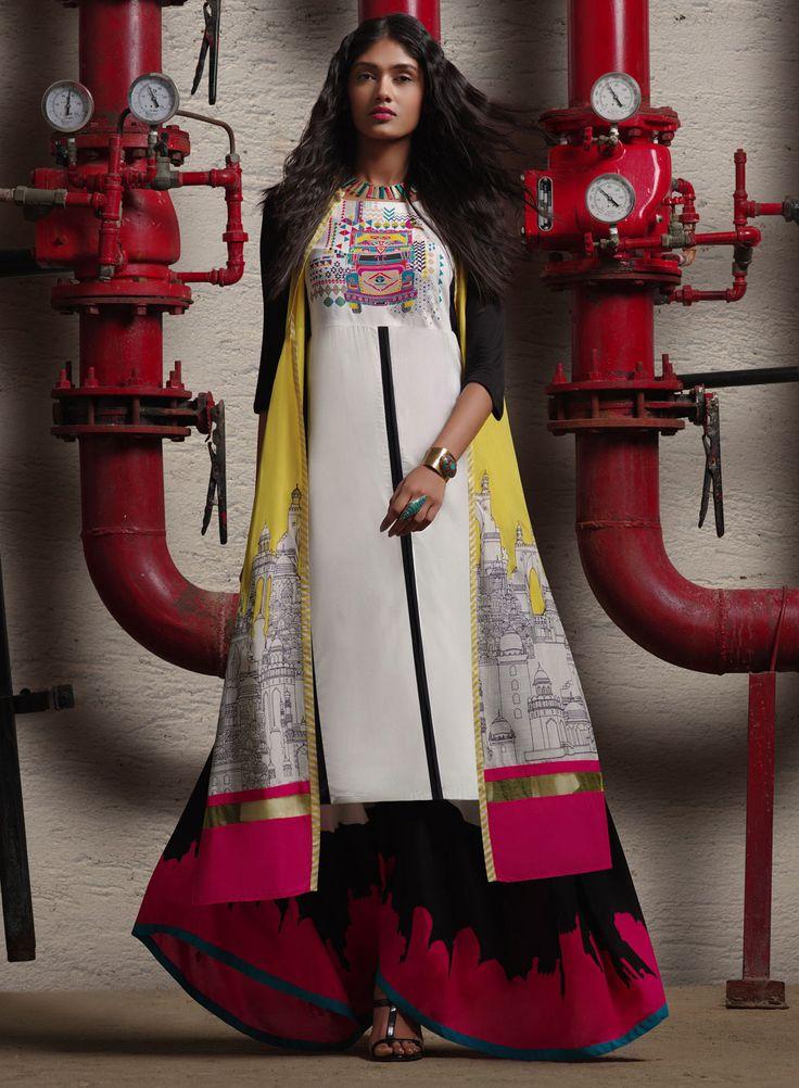 W For Woman White Cotton Printed Jacket Style Kurti