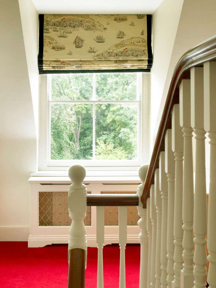 Twickenham Residence Landing - Roman Blind with velvet border