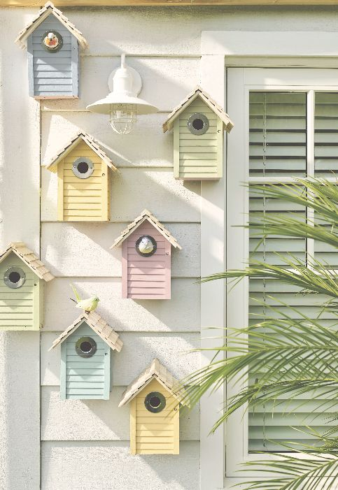 Pastel Painted Bird Houses