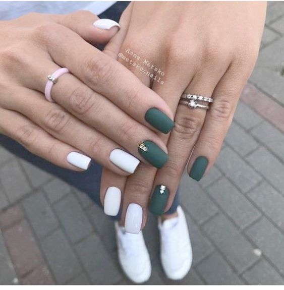 Matte Grey Nails With Glitter over Nail Care Athen…