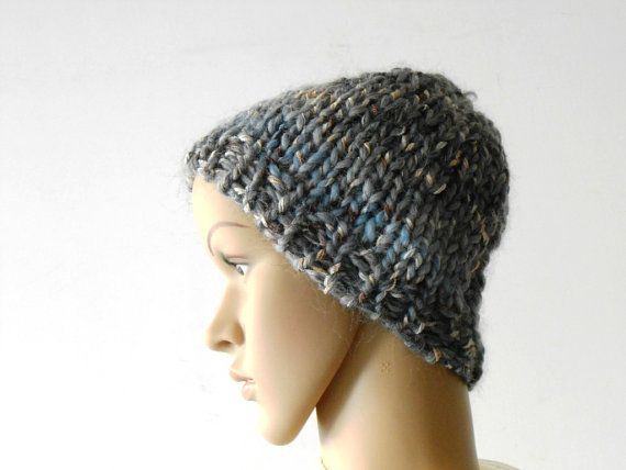 knitted wool hat chunky knit beanie  in grey melange by cosediisa