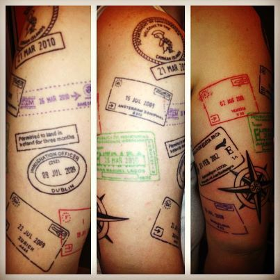 """""""My half-sleeve #tattoo of all my passport stamps."""" This is such a great idea."""
