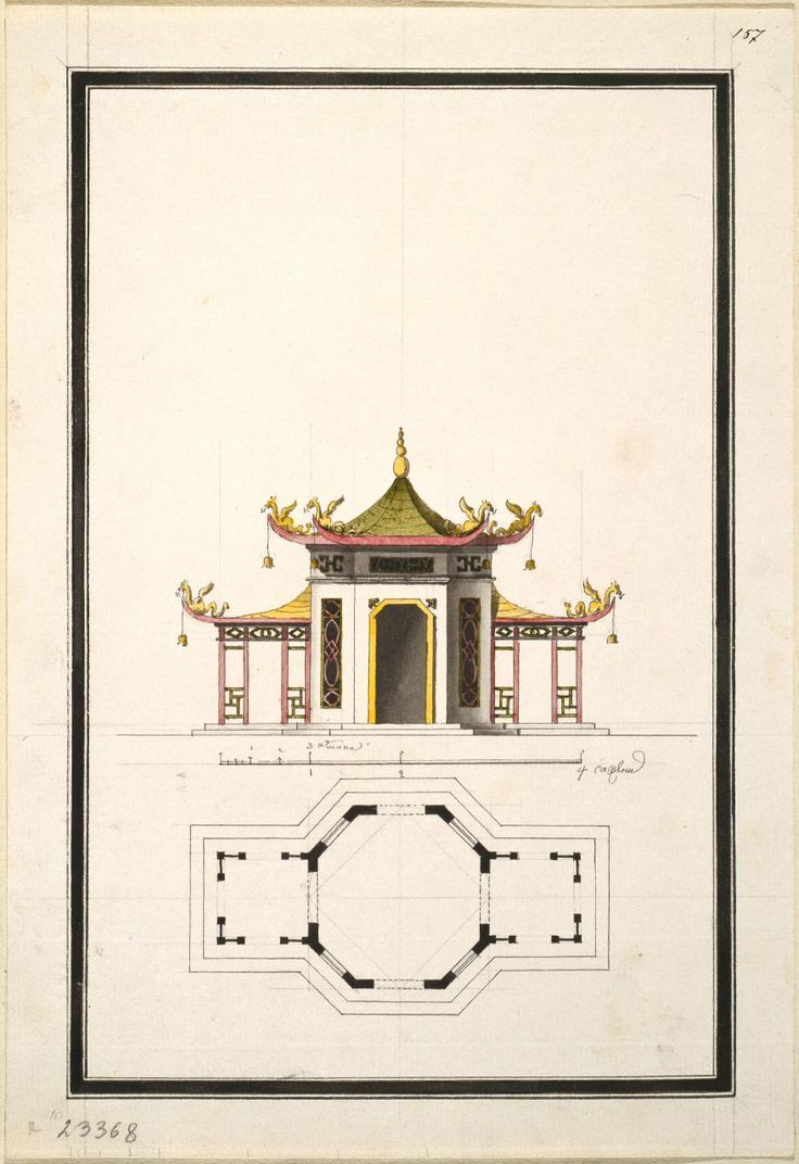 Ilya Neyelov  Russian 1745–93 'Design for an octagonal Chinese pavilion  with balconies' (1770s)  pen and ink, watercolour  32.0 x 22.0 cm (sheet)  The State Hermitage Museum, St Petersburg  (Inv. no. ОР-23368)  Acquired before 1797