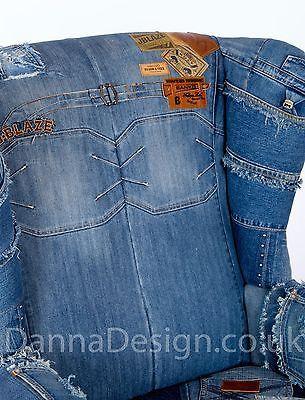 Jeans patchwork denim Wingback Armchair Parker Knoll sofa chair  Furniture