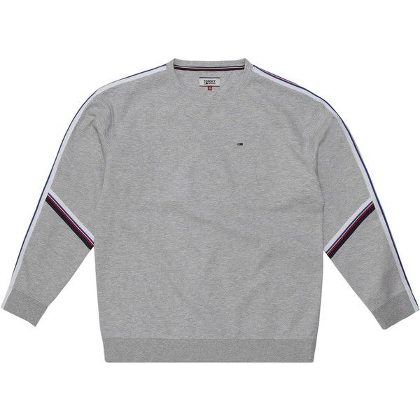 Tommy Hilfiger Tommy Jeans Racing Stripe Sweatshirt ($125) ❤ liked on Polyvore featuring men's fashion, men's clothing, men's hoodies, men's sweatshirts, mens crew neck sweatshirts, mens short sleeve sweatshirt and mens crewneck sweatshirt