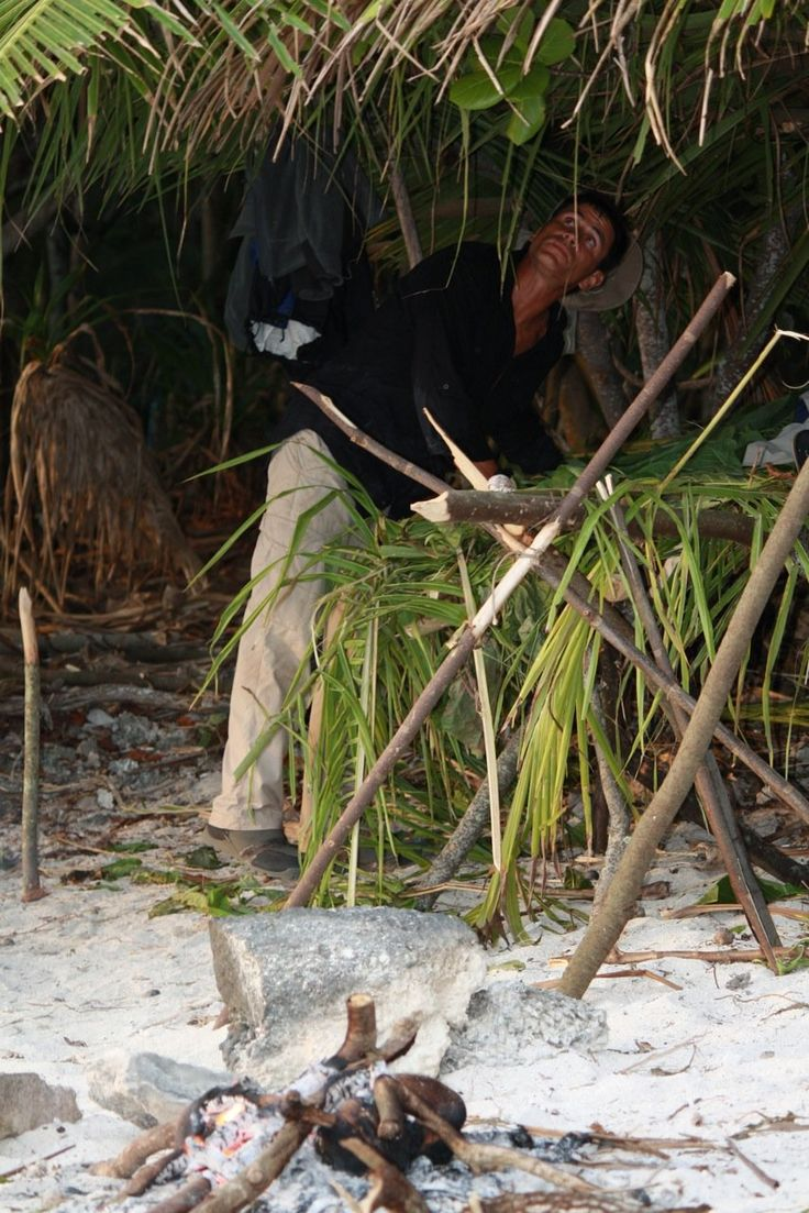 Pandanus shelter, close up, Aitutaki. Picture courtesy of Discovery Channel.