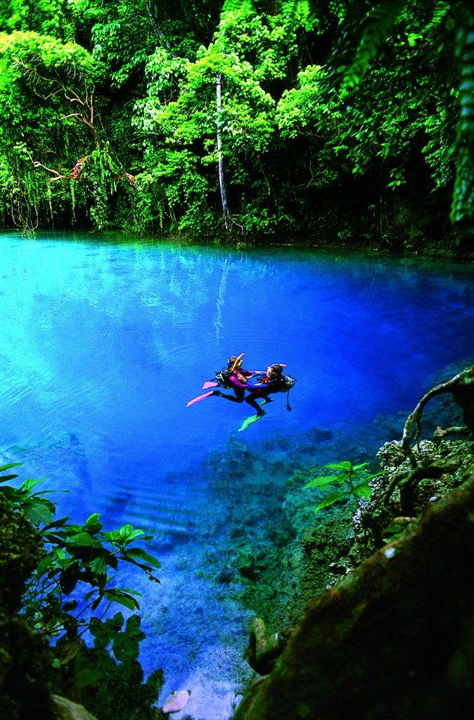 Blue Holes in Espiritu Santo Island, Vanuatu - Located just west of Fiji, on the Espiritu Santo island of Vanuatu youll find some of the most crystal clear blue waters youve ever laid eyes on. Called blue holes, theyre large, deep pools of clear, fresh water that come to the surface through layers of limestone and coral.