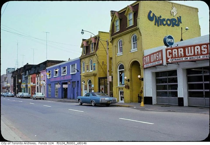 The south side of Gerrard Street, looking east to Yonge Street in Toronto, circa 1966. It was all torn down to make way for what is today the Delta Chelsea Hotel