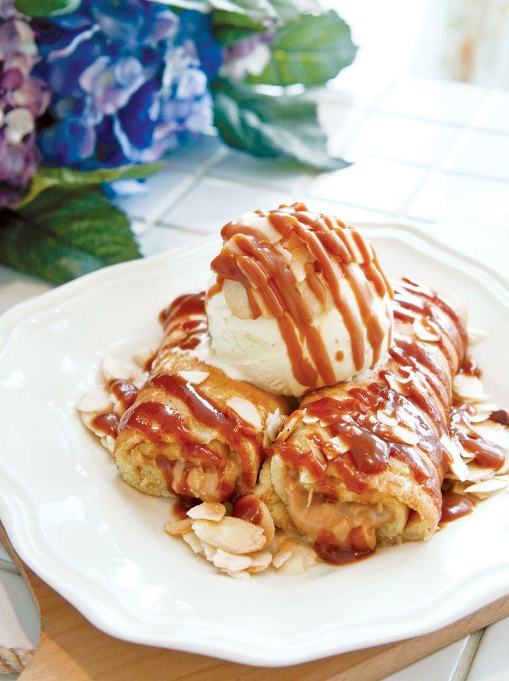 Linda's Peanut Caramel Butter Roll Pancake #nannyspavillon #food #pancake