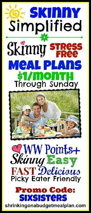 $1/Month through Sunday only. Swimsuit season is just around the corner! Between sports, music practices and work, life can get hectic. Throw a weight loss goal into the mix and things really get crazy. We can help. Tame the chaos with Weight Watchers friendly, Picky Eater approved complete (and super easy) meal plans for breakfasts, lunches and dinners. All include Weight Watchers Points+!!