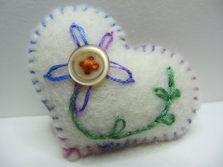 Wool Felt Heart Broach, Hand Embroidered, Vintage Threads & Button, Padded, Christmas Gift. by BobbyandMeSew on Etsy