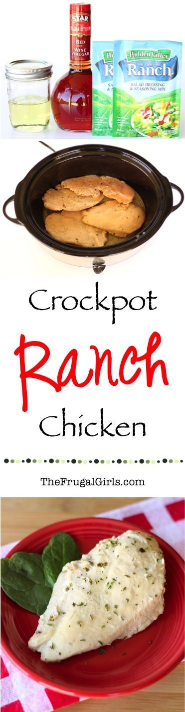 Crockpot Ranch Chicken Recipe! ~ from TheFrugalGirls.com ~ add this to your rotation of Easy Dinner Recipes for the Family this week... it's so simple, delicious and just 4 ingredients!! #slowcooker #recipes #thefrugalgirls