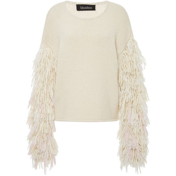 Tabula Rasa     Karash Fringe Sleeve Sweater (£725) ❤ liked on Polyvore featuring tops, sweaters, neutral, alpaca wool sweater, fringe sweaters, sleeve sweater, textured sweater and oversize sweater
