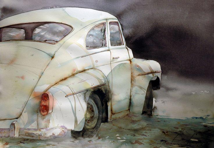 Watercolor car. Denna fantastiska målning är gjord av Björn Bernström, ART BY BERNSTRÖM PV-akvarell. © Björn Bernström #volvoart