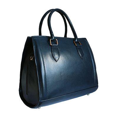 Vintage Gladstone Style Navy Blue Leather Handbag - £99.99