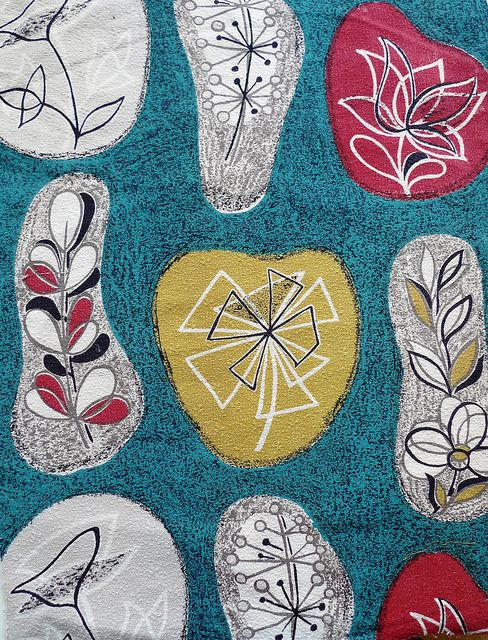 organic floral abstract barkcloth, via Flickr.