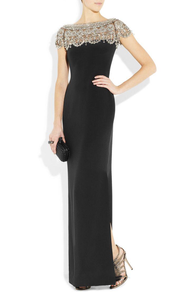 MARCHESA  Embellished silk-crepe column gown