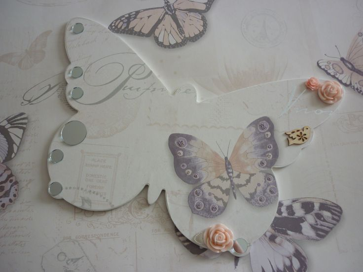 Wallpaper covered MDF butterfly - Sarah Field