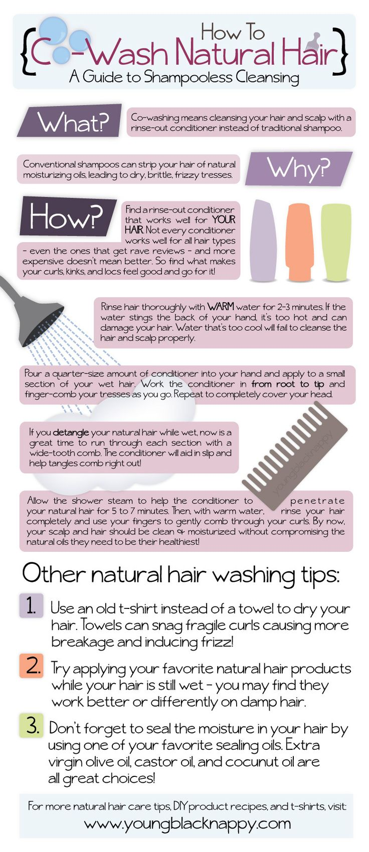How to Co-Wash Natural Hair...I have been using this method for about a year and love it. I rarely ever use shampoo unless I go swimming.