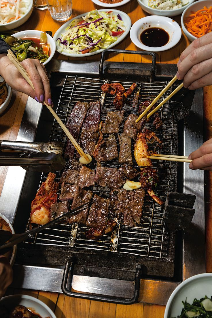 Kalbi (Korean Grilled Beef Ribs) Recipe - Saveur.com - Pineapple juice sweetens and tenderizes beef short ribs in this classic Korean grilled dish. Ask your butcher for bone-in short ribs cut in half crosswise.