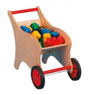 Schubkarre aus Holz in Rot/Natur für Kinder von Bätz