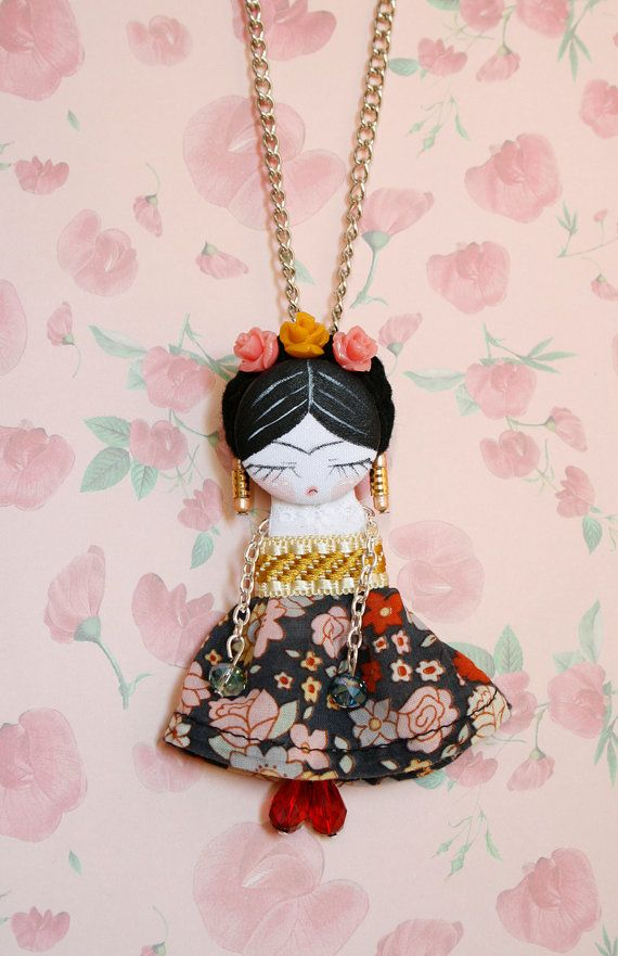Fifi doll Frida Kahlo. Brooch & necklace. by FefiTorres on Etsy