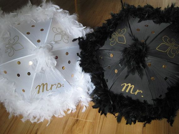 Wedding Umbrellas Second Line Mr. Mrs. bride groom New Orleans Second Line