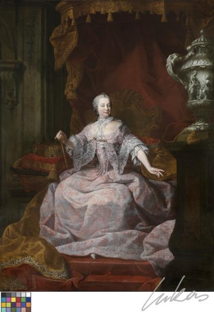 Austrian empress Maria-Theresia dressed in Flemish lace. See the real canvas in Bruges!