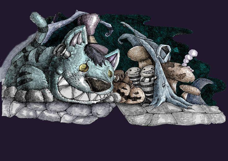 고양이,할로윈,호박,난쟁이,체셔,앨리스,쌍둥이,버섯,벌레,밤,악몽,나무,가시,펜화,일러스트