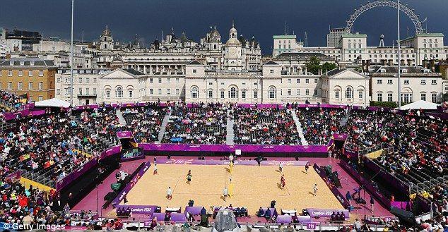 London 2012 beach volleyball venue at Horse Gaurds Parade