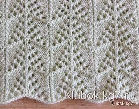 Симпатичный ажурный геометрический узор с волнистым краем для вязания спицами