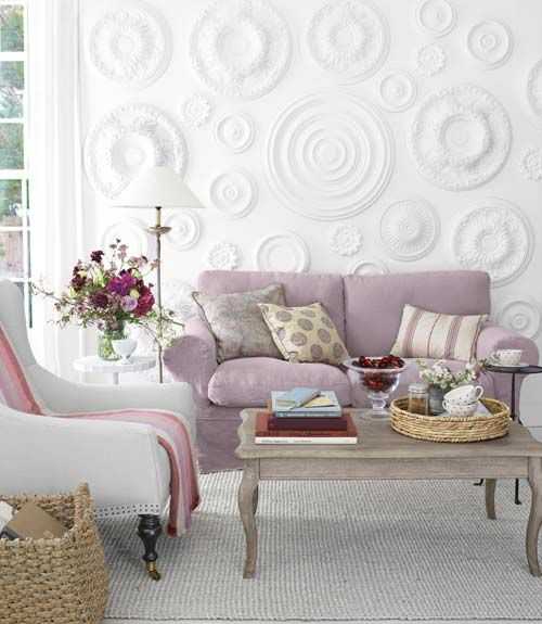 Neat wall decoWall Art, Ideas, Wall Decor, Ceilings Medallions, Living Room, Wall Treatments, Ceiling Medallions, Texture Wall, White Wall