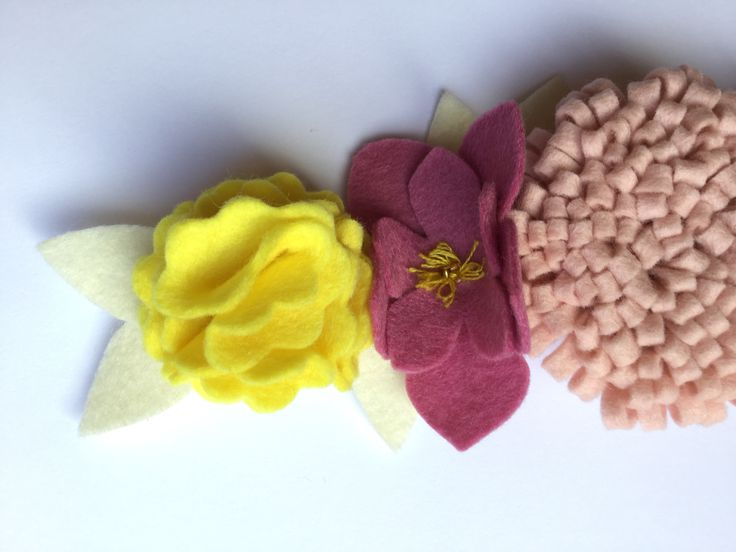 Felt flowers with glass bead and embroidery floss detail