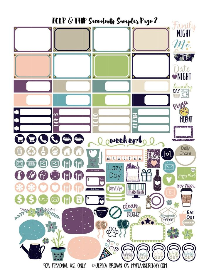 Succulents Sampler Kit for the Vertical Erin Condren and Regular Happy Planner on myplannerenvy.com