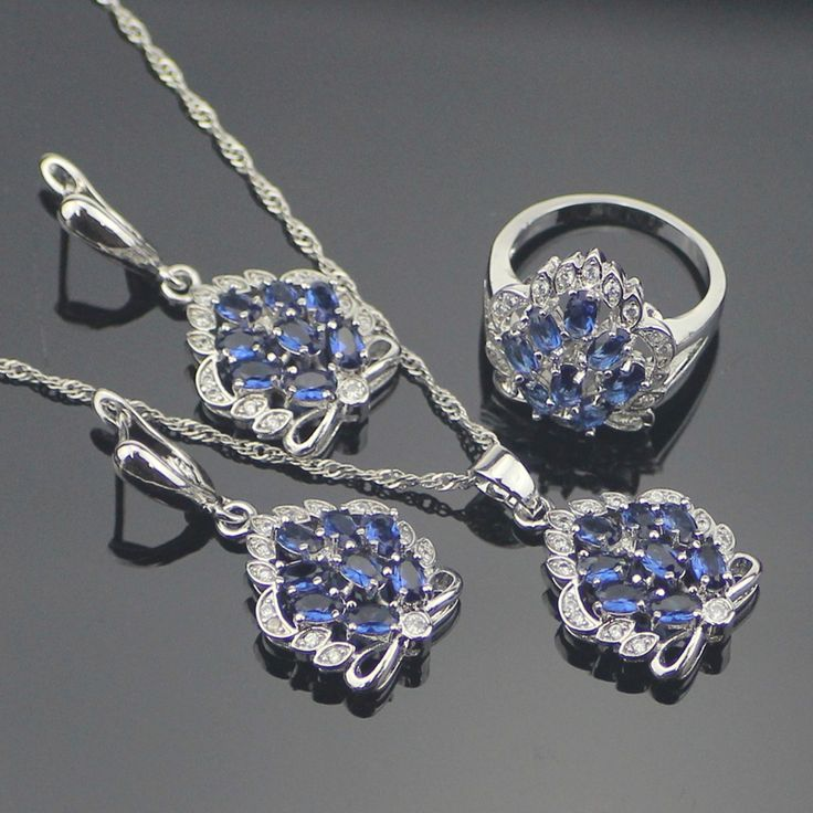 Romantic Blue Created Tanzanite 925 Sterling Silver Jewelry Sets For Women Earrings/Necklace/Pendant/Rings Free Gift Box