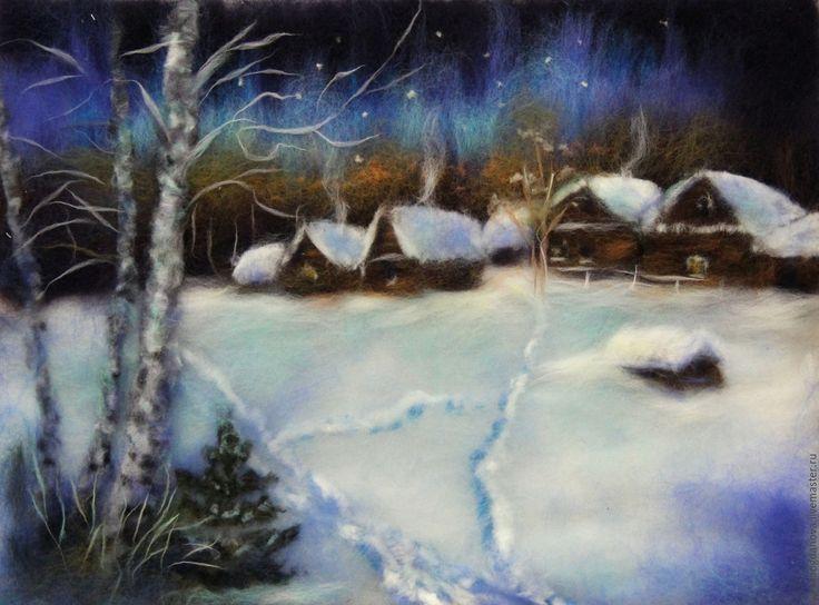 """Купить Картина из шерсти """"Сочельник"""". - синий, зима, Новый Год, рождество, сочельник, зима в деревне"""