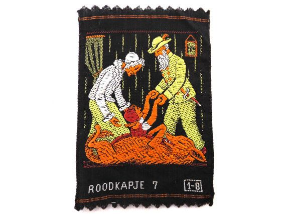 Little rojo Riding Hood apliques apliques de bordado antiguo de 1930, aplicación, parche. Parche de vintage, suministros de costura. #649G14DK15