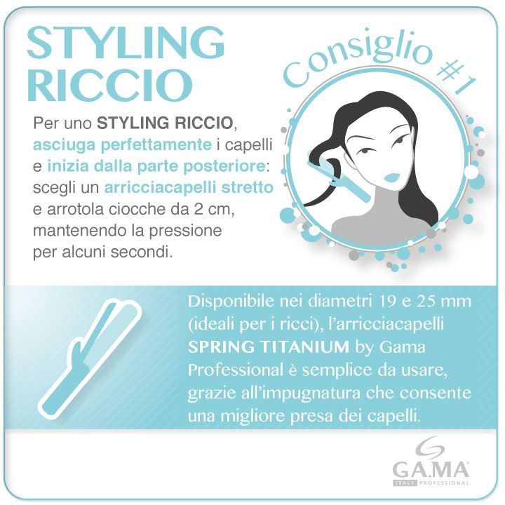 Voglia di ricci? Con gli #arricciacapelli Spring Titanium è semplicissimo: ecco i nostri consigli per un utilizzo perfetto! /// Curly mood? With our #curling #iron Spring Titanium it's so easy... Read Gama tips for a perfect styling! #gamaconsiglia #curlingirons #irons #hair #capelli #beautytechnology #howto #hairtips #tips #tutorial www.gamaprofessional.it/Ferri/Spring