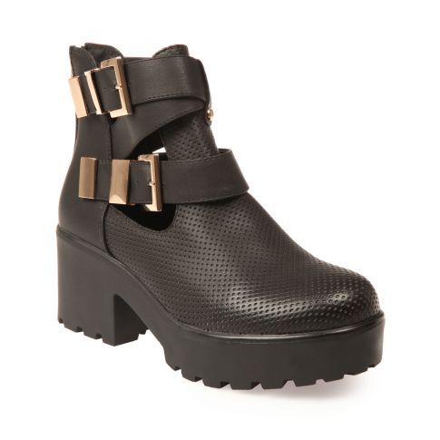 Chaussure bottine ajourée à plateforme femme pas cher noir