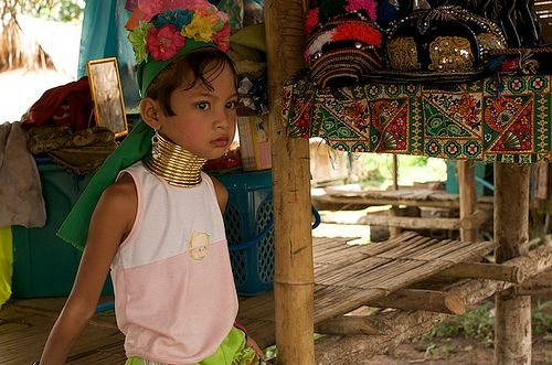 The Padaung, or Long-Necked Karen, maunly arrived in Thailand around 30 years ago as refugees from the war in Burma. They are famous for the extraordinary neck rings worn by the women, which give the illusion of a longer neck by pushing down the shoulders