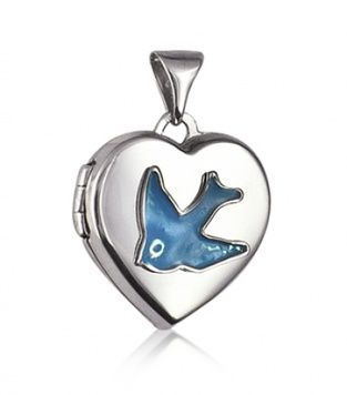 Locket - HEART BLUEBIRD TRADITIONAL - Sterling Silver and Enamel