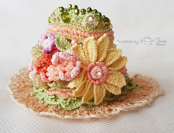 Crochet cuff bracelet Beaded cuff Crochet bracelet Beaded