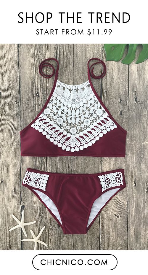 $24.99 Boho Ladies Lace Halter Bikini Set