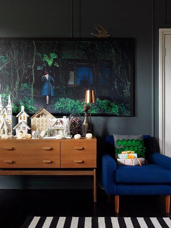 Grey walls pops of bright colour mcm furniture love for Bright green interiors